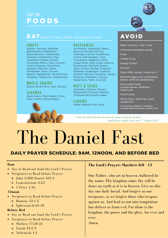 The Health and Wellness Ministry will be proposing a Daniel Fast from Sunday, March 15th - Sunday, April 5th.  The Prayer Warriors have partnered with the ministry and provided a prayer schedule.  Click to see the details.